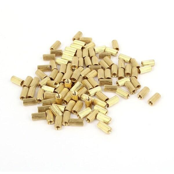 Unique Bargains 100 Pcs Female Threaded Pillars Brass Standoff Spacer Gold Tone M2x6mm