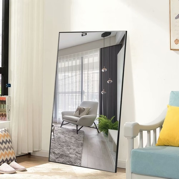 Modern Aluminum Alloy Thin Framed Full Length Floor Mirror. Opens flyout.