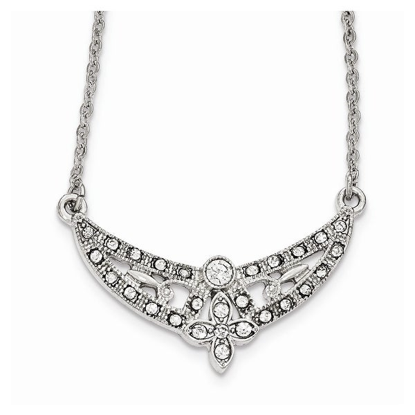 Silvertone Crystal Floral Scallop Necklace - 16in