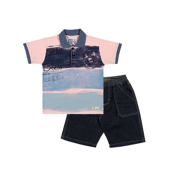 Toddler Boy Outfit Polo Shirt and Denim Shorts Pulla Bulla Sizes 1-3 Years
