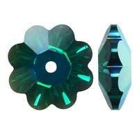 Swarovski Crystal, 3700 Flower Margarita Beads 12mm, 4 Pieces, Emerald AB
