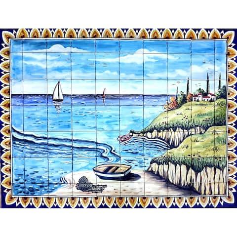 60in x 42in Sea View Design 70pc Tile Ceramic Wall Mural
