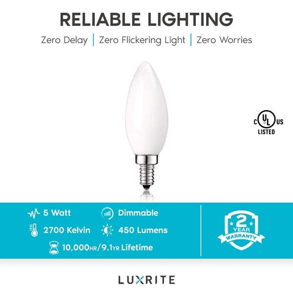 E26 LED Filament Candelabra Bulb 60W Equivalent Dimmable 2700K Warm White 12Pack