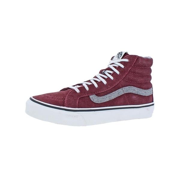57483466ad Vans Womens SK8-Hi Slim High Top Sneakers Skate Vintage Red 7 Medium (B