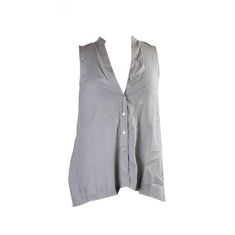 Eileen Fisher Gray Sleeveless Mandarin Collar Shirt XXS