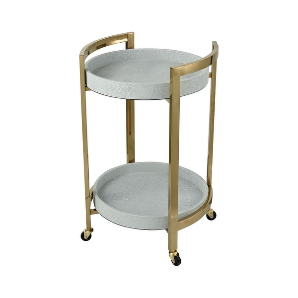 """28"""" White Faux Leather and Gold Plated Stainless Steel Bar Cart with Removable Tray - N/A"""
