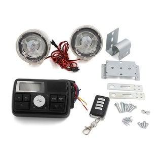 12V Motorcycle Skull Pattern Stereo Speaker Anti-Theft Alarm System MP3 Audio