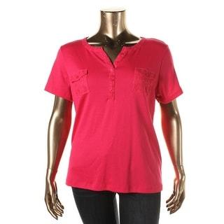 Karen Scott Womens Lace-Trim Short Sleeves Casual Top - XL