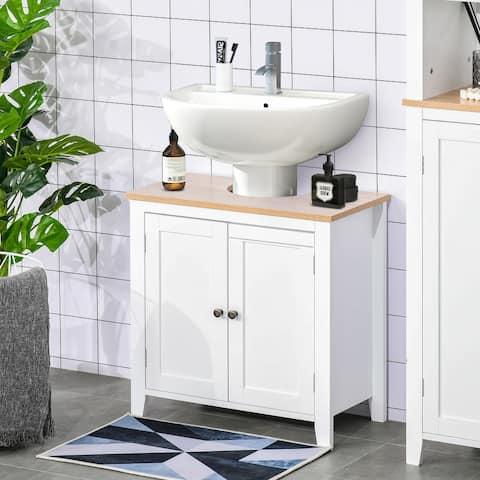 "Kleankin Under-Sink Bathroom Sink Cabinet, Storage Unit with U-Shape and Adjustable Internal Shelf, White - 23.5""x11.75""x23.5"""