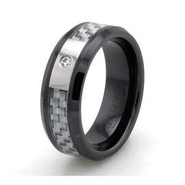 Black Ceramic White Carbon Fiber Ring with 0.05ctw Cubic Zircoia