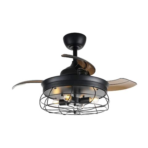 Industrial Black Metal 34-inch Retractable 3-Blades Ceiling Fan