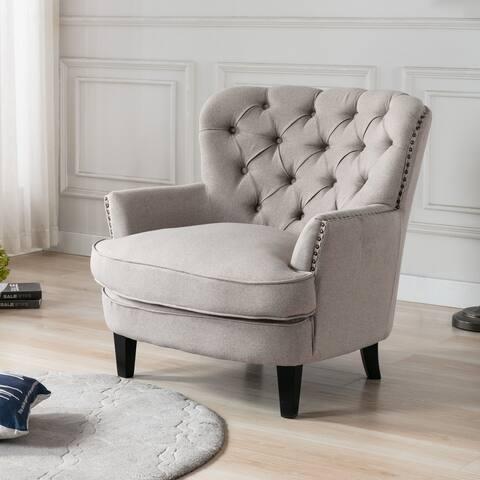 Corvus Cervine Tufted Linen Oversized Accent Club Chair
