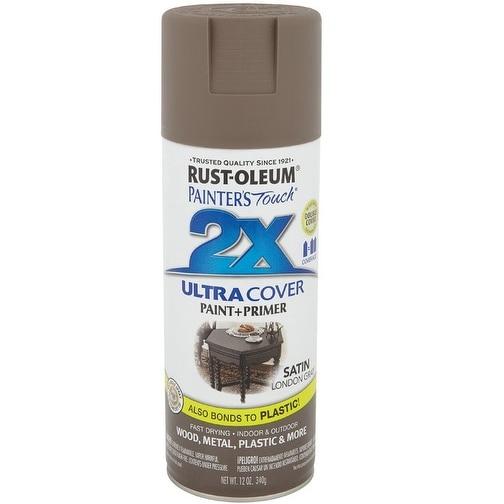 Rust-Oleum 249857 Painter's Touch 2x Paint+Primer Enamel Spray, 12 Oz,  London Gray