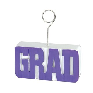 Pack of 6 Royal Purple Grad Photo or Balloon Holder Decorations 6 oz.