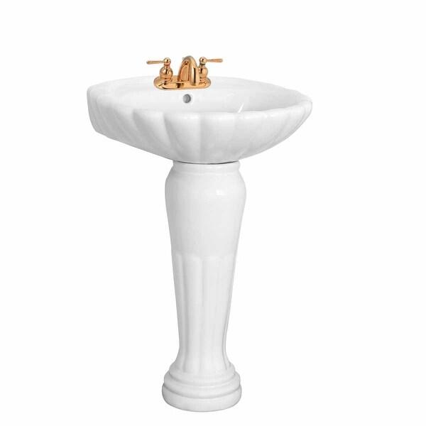 Bathroom Pedestal Sink White China Oceanside Centerset Faucet Holes