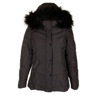 Madden Girl Charcoal Black Faux-Fur-Trim Hooded Puffer Coat M