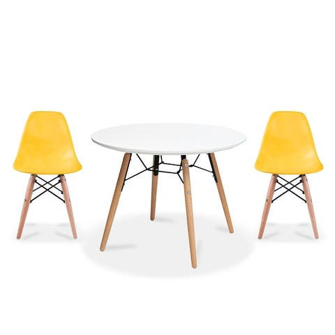 Modern Accent Kids Toddler Children Side Armless Chair and Round Table Combo with Eiffel Natural Wooden Legs for Dining