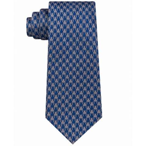 Sean John Men's Blue Retro Houndstooth Classic Slim Neck Tie Silk