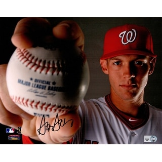 Stephen Strasburg Washington Nationals Pose Holding MLB Baseball 8x10 Photo