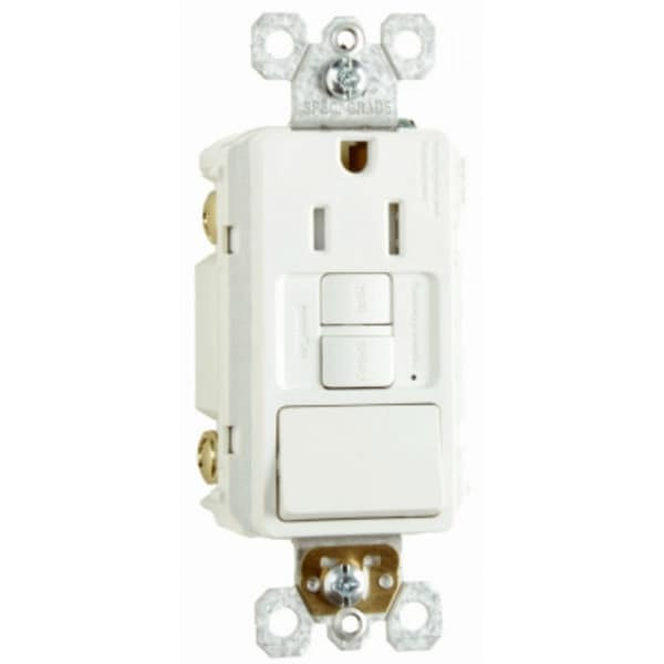 Pass & Seymour 1597SWTTRWCCD4 Combination Single Pole Switch, 15A, 125V,  White