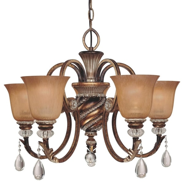 """Minka Lavery ML 174 5 Light 20"""" Height 1 Tier Crystal Chandelier from the Aston Court Collection - aston court bronze"""