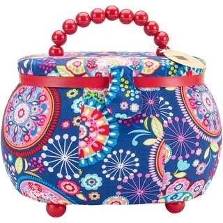 "Sewing Basket Oval-9.5""X6.75""X7.25"" Funky Floral Print"
