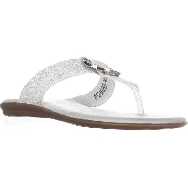 Aerosoles Supper Chlub Thong T-Strap Flat Sandals, White