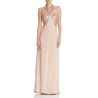 Link to Tadashi Shoji Womens Evening Dress Sequined Halter - Champagne Similar Items in Dresses