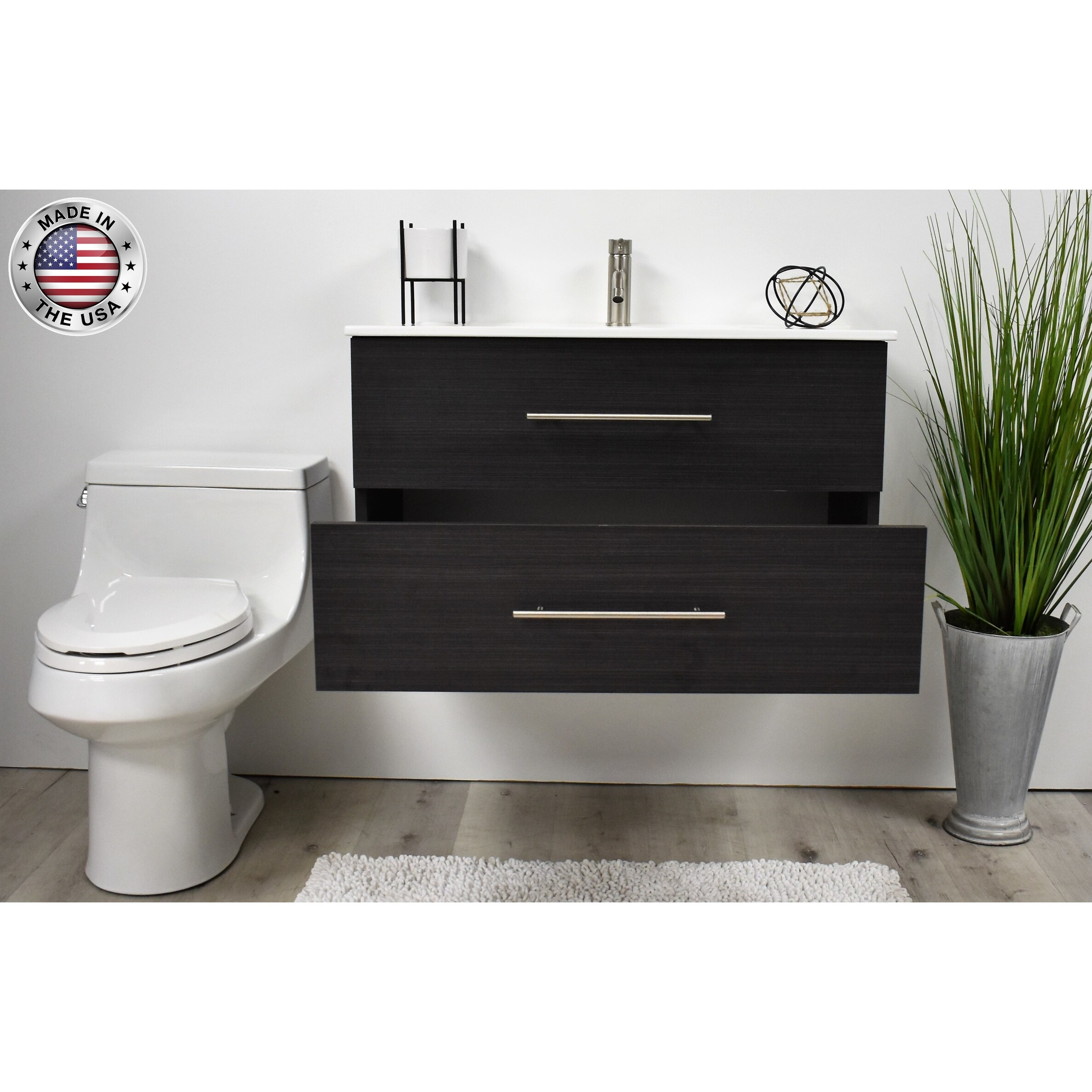 Volpa Usa Napa 30 Inch Black Ash Wall Mounted Floating Bathroom Vanity Set Overstock 32207305