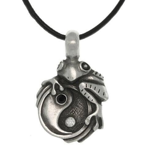 Pewter Unisex Frog on Yin Yang Necklace