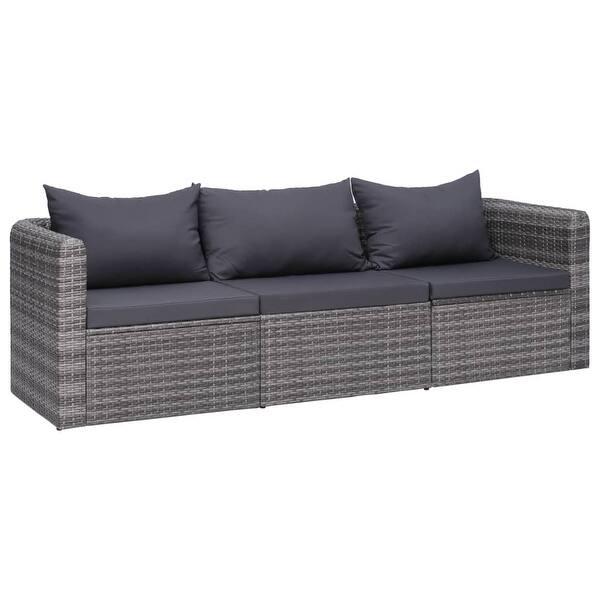 Pleasing Shop Vidaxl 3 Piece Garden Sofa Set With Cushions Gray Poly Andrewgaddart Wooden Chair Designs For Living Room Andrewgaddartcom