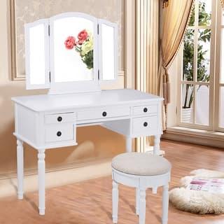 Costway 43''x19''x56'' Tri Folding Mirror Wood Luxury Vanity Makeup Set W/5 Drawer White|https://ak1.ostkcdn.com/images/products/is/images/direct/de07317c4246cfb62780082bd840d69a4c9bec03/Costway-43%27%27x19%27%27x56%27%27-Tri-Folding-Mirror-Wood-Luxury-Vanity-Makeup-Set-W-5-Drawer-White.jpg?impolicy=medium