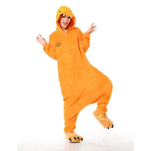 Unisex Adult Pajamas Cosplay Costume Animal one-piece Sleepwear Suit - Orange - M