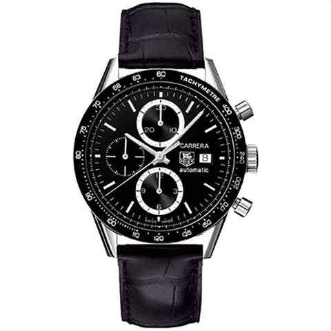 Tag Heuer Men's CV2010.FC6266 'Carrera' Chronograph Black Leather Watch