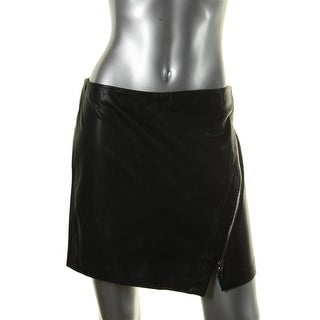Zara Basic Womens Faux Leather Asymmetric Mini Skirt - M