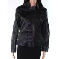 Dash X Black Womens Size Medium M Zip Motorcycle Leather Jacket