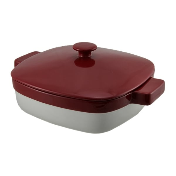 KitchenAid Red and White 1.9 Quart Covered Ceramic Baking Dish - 4.5 X 10.75 X 8.75 inches