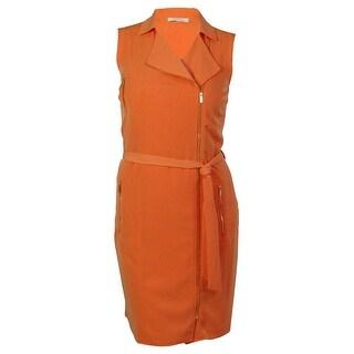 Calvin Klein Women's Front Zippered Belted Dress
