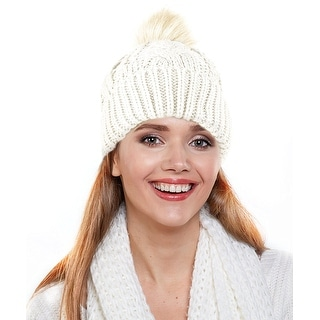 e1df7a0033d Slouchy Beanie Hat - B075F4QQT5. iShine Men Women s Winter Warm Chunky Soft  Stretch Hand Crochet Knit Faux Fur Pompoms Bobble