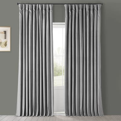 Exclusive Fabrics Silver Grey Velvet Blackout Extra Wide Curtain (1 Panel)