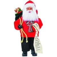 "9"" NCAA Texas Tech Red Raiders Santa Claus with Good List Christmas Ornament"