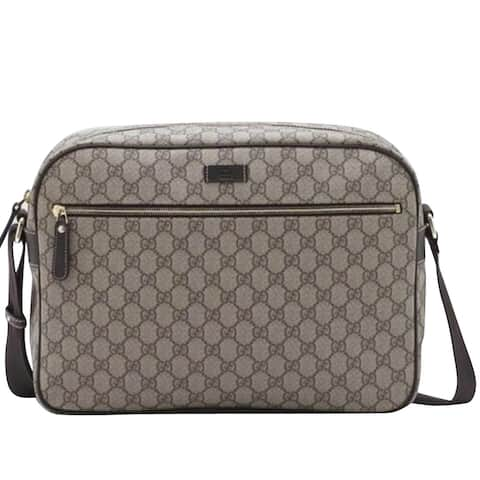 967d8bde5bd7 Gucci Men's Zip Top Beige/Ebony GG Plus Coated Canvas Bag 211107 8588 - One