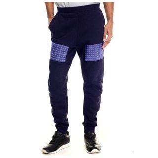 Rocawear Blak Big and Tall Studs Fleece Jogger Sweatpants Navy Blue XXX-Large