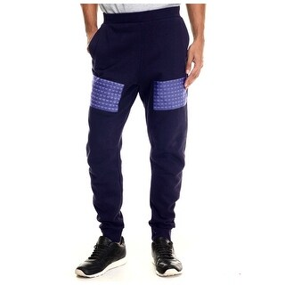 Rocawear Blak Big and Tall Studs Fleece Jogger Sweatpants Navy Blue XXX-Large