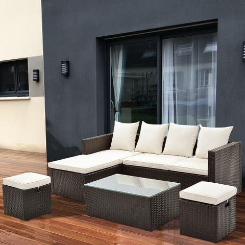 5 Pieces Patio Furniture Set Outdoor Sectional Sofa Conversation Set All Weather Wicker Rattan Couch