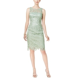 Adrianna Papell Women's Lace Sheath Dress 04186300, Mint, 14