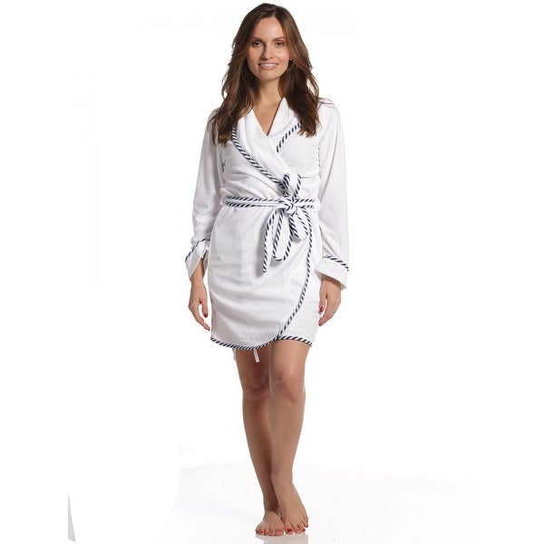 Shop Rene Rofe Women s Terry Short Wrap Robe - White - Free Shipping On  Orders Over  45 - Overstock - 23618747 f62c1ce3a