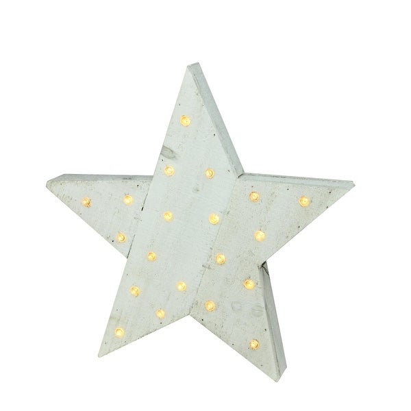 "15.5"" Luxury Lodge LED Lighted Country Rustic White Wooden Star Christmas Decoration"