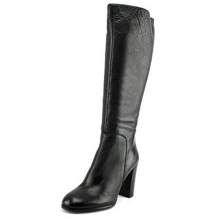 Kenneth Cole NY Justin Women Round Toe Leather Black Knee High Boot - 5
