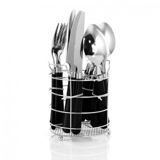 Link to Gibson 16 Piece Stainless Steel Flatware Set with Chrome Caddy - Black Similar Items in Flatware